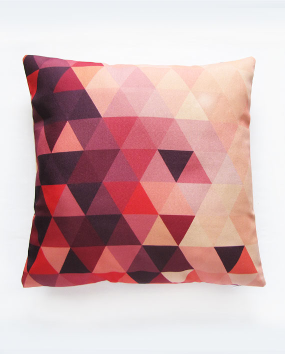 Pink geometric pillow cover