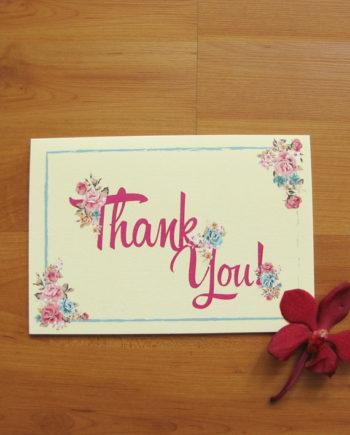 Cream Floral Thank You Card